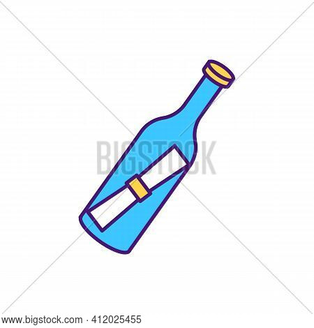 Bottle With Paper Hints Inside Rgb Color Icon. Playing Games Wih Puzzles. Creating Interesting Activ