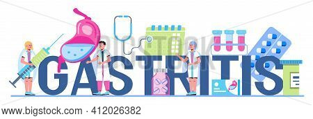 Gastritis, Colic, Stomach Ulcer Concept Vector. Tiny Doctors Research Stomach. Gastroenterology Illu