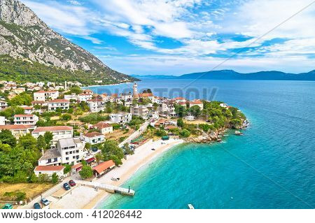 Gradac Village On Makarska Riviera Waterfront Aerial View, Dalmatia Region Of Croatia