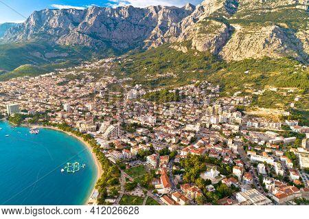 Makarska. Aerial View Of Town Of Makarska Under Biokovo Mountain. Dalmatia Region Of Croatia