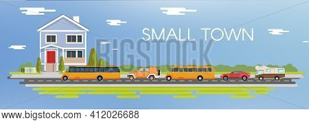 Flat City Vector Illustration Set. Blue House On Coutryside Illustration. Camping Van With Bus And S