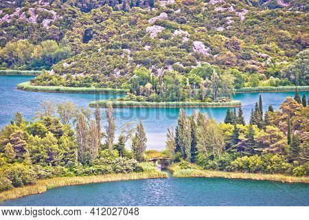 Bacina Lakes Landscape Aerial Panoramic View, Southern Dalmatia Region Of Croatia