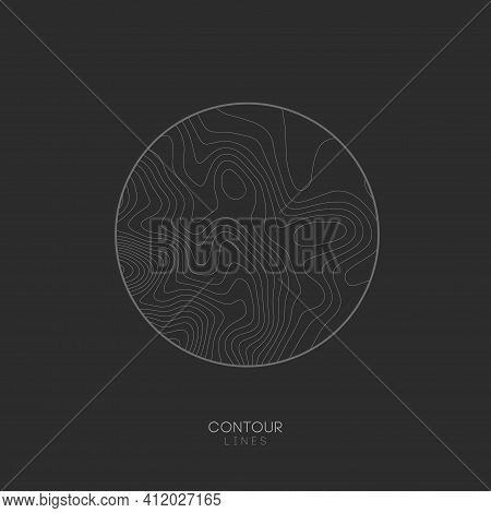 Topographic Map Circle Logo Concept On Dark Background. Topo Map Elevation Lines. Contour Vector Abs