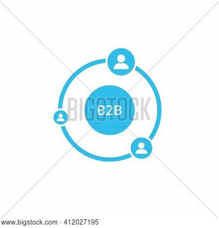 B2b Icon On White Background. Business To Business Concept. Marketing Strategy. Vector