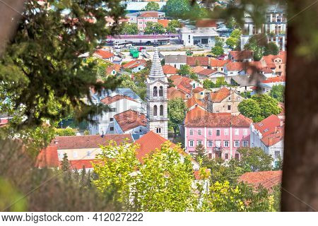 Town Of Sinj In Dalmatia Hinterland Church And Center View, Southern Croatia