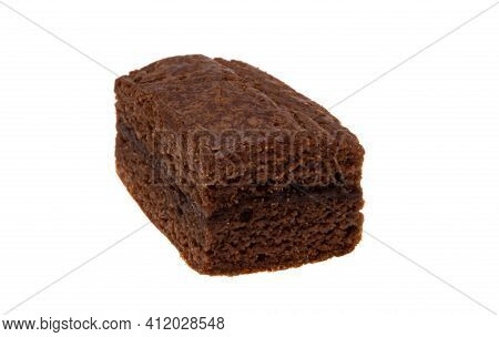 American Chocolate Brownie Isolated On White Background