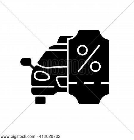 Taxi Discount Program Black Glyph Icon. Car Service. Cab Special Offer. Cheap Taxi Service. Promotio