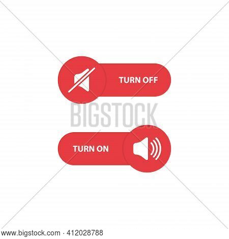 Volume Control Red Buttons. Turn Off And Turn On Sound. Toggle Switch Buttons. Vector