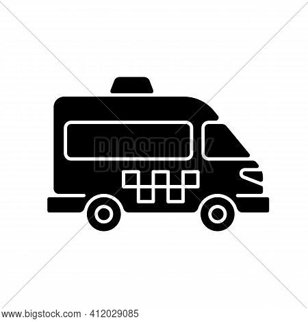 Shuttle Buses Black Glyph Icon. Convenient Means Of Transportation Around The City. Travel By Compan