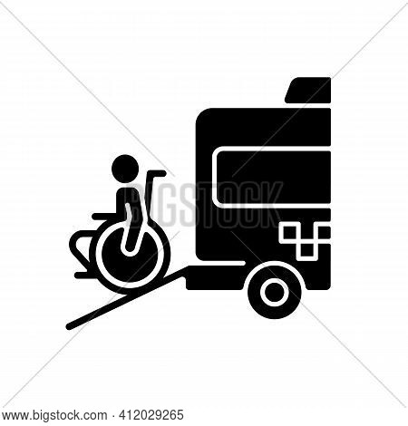 Wheelchair Van Black Glyph Icon. Accessible Van. Increased Mobility Of People With Disability. Non-e