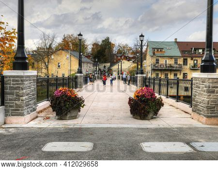 Elora, Ontario/canada - October 15: View Of Tourists Enjoying A Visit On [october 15, 2020] In [elor