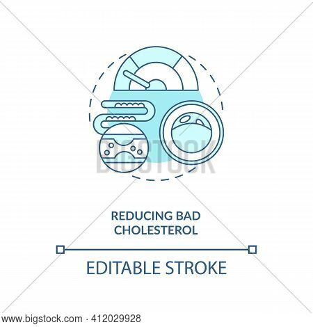 Reducing Bad Cholesterol Blue Concept Icon. Healthy Eating. Proper Metabolism. Intermittent Fasting
