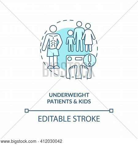 Underweight Patients And Kids Blue Concept Icon. Eating Disorder. Intermittent Fasting Precaution Id
