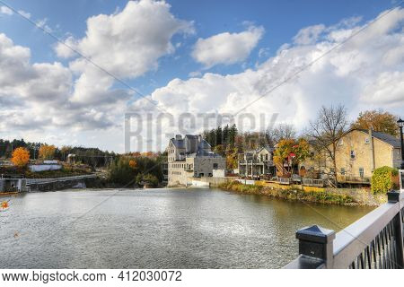 A Scene Of Elora, Ontario, Canada On A Beautiful Autumn Day