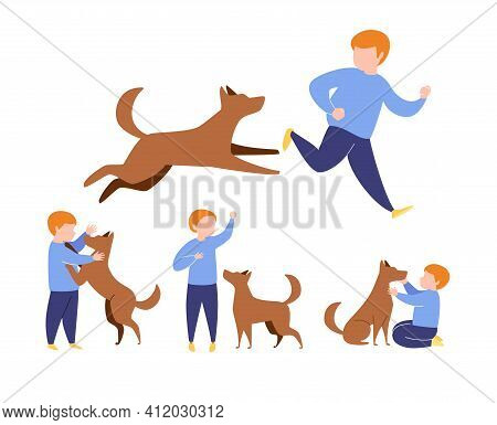 Set Of Dog And Boy Situations. Dog Stands Hind Legs Front Owner. Sit Next. Hug Pet. Run One After An