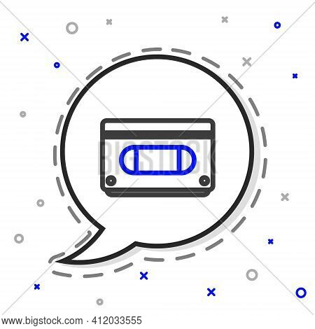 Line Vhs Video Cassette Tape Icon Isolated On White Background. Colorful Outline Concept. Vector Ill