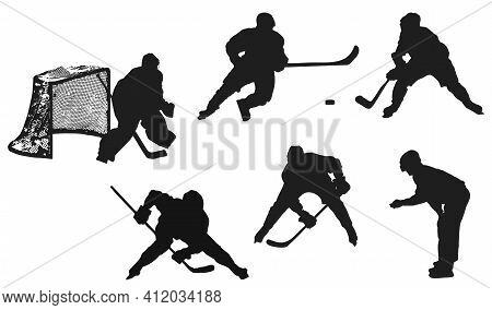 Hockey Players Silhouettes Isolated On White Background. The Goalkeeper Stands At The Goal, The Refe