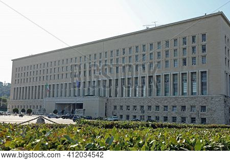 Rome, Rm, Italy - August 15, 2020: Farnesina Palace Headquarters Of The Ministry Of Foreign Affairs