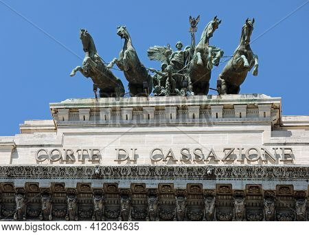 Rome, Rm, Italy - August 16, 2020: Palace Of Justice And The Wide Text That Means Supreme Court Of C