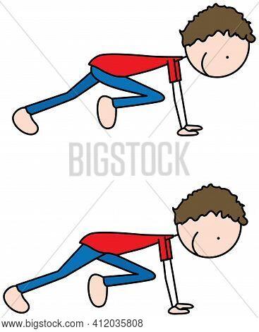 Cartoon Vector Illustration Of A Boy Exercising - Mountain Climber