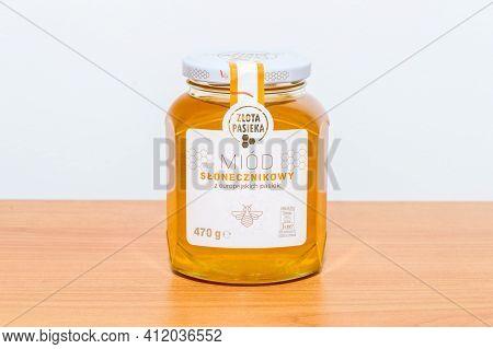 Pruszcz Gdanski, Poland - March 9, 2021: Jar Of Zlota Pasieka Sunflower Honey.