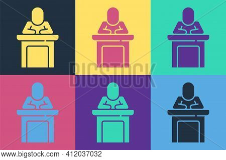 Pop Art Speaker Icon Isolated On Color Background. Orator Speaking From Tribune. Public Speech. Pers