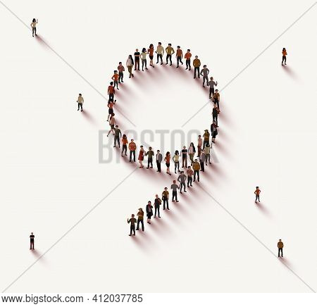 Large Group Of People In Number 9 Nine Form