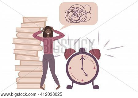 Stress At Work. Burnout And Fatigue From Paperwork And Problems. A Confused Employee Grabs His Head