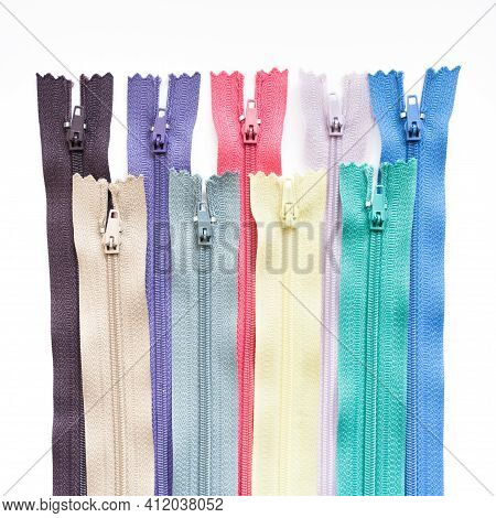 Zipper Collection Isolated On White Background. Clothing Fastener Colorful Set