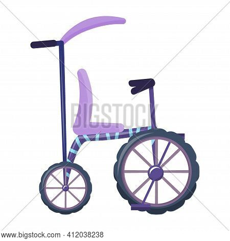 Bike, Running Bike In Cartoon Style Isolated On White Background. Vector Illustration, Car For Kids