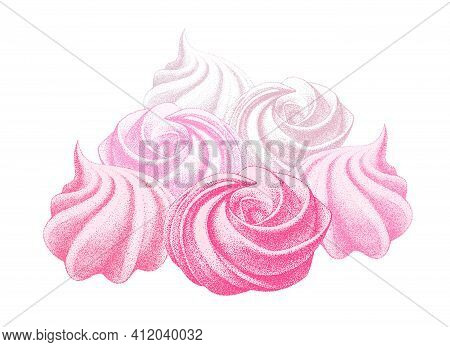 Bunch Of Airy French Meringue Pink, Marshmallow, Zephyr. Sweetness, Sweet Cake, Dessert. Hand Drawn