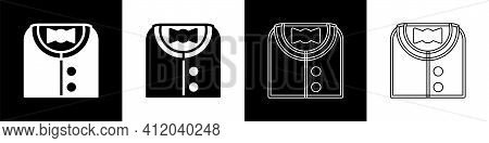 Set Suit Icon Isolated On Black And White Background. Tuxedo. Wedding Suits With Necktie. Vector