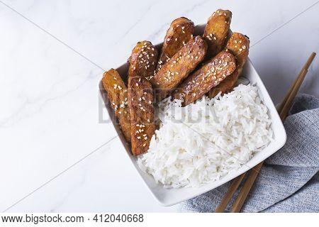 Fried Teriyaki Tempeh, Tempe, Fermented Postbiotics Food From Soybeans