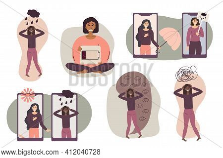 A Set Of Concepts For Anxiety Disorders, Panic Attacks, And Depression. Multicolored Women. Help For