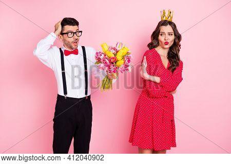 Photo Of Young Gentleman Present Flower Arrogant Girl Show No Deny Reject Sign Wear Golden Crown Iso