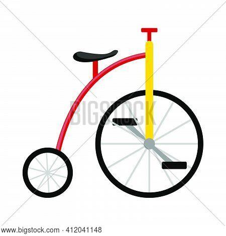 April Fool's Day Icon. Clowns Bike. Flat Color Design. Vector Illustration.