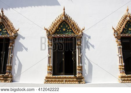 Window Ordination Hall Of Wat Paramaiyikawat Worawihan Or Mon Ancient Buddhist Temple On Koh Kret Is