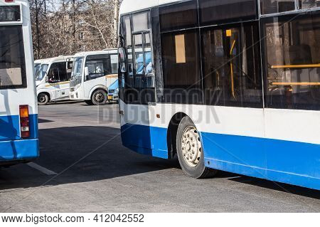 City Buses On Parking Place At Bus Station.