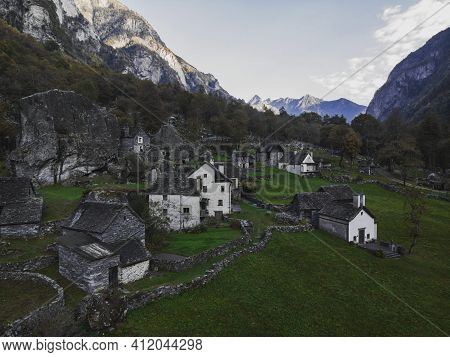 Aerial Panorama View Of Traditional Old Historic Stone Rock Houses Buildings In Sabbione Village Ham
