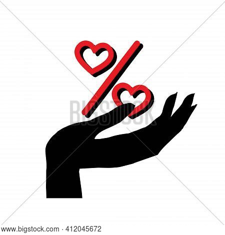 Icon Of Percentage Sign In Hand. Heart Percentage