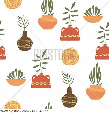 Seamless Pattern Floral. Vase And Plants In Terra Cotta Colors. Boho Vector For Home Decor ,textile,
