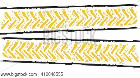 Tire Tread Tracks. Car, Motorcycle And Bicycle Mark Prints Bike Wheel On Traces On White Background