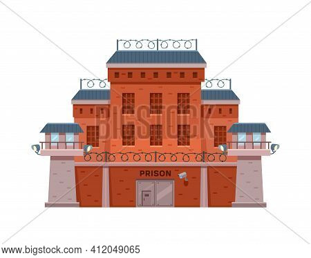 Guarded City Prison Building With Two Watchtowers On A High Brick Fence With Barbed Wire, Buses For