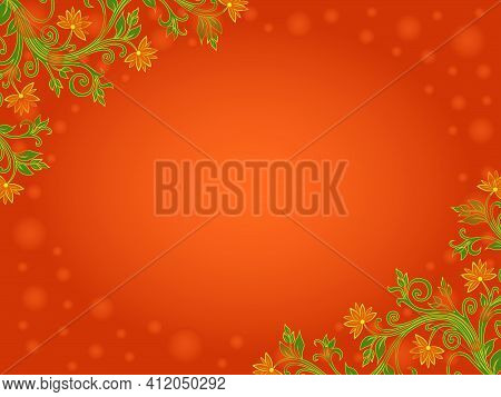 Beautiful Romantic Greeting Card With Floral Colorful Elements On Orange Background