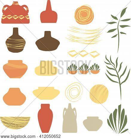 Vase In Terra Cotta ,plants And Elements For Decoration.vector Illustration