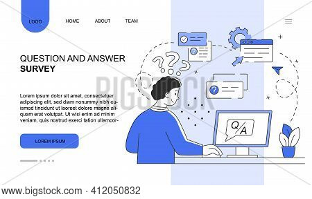 Male Character Is Passing Question And Answer Survey On Computer. Young Man Is Answering Survey Ques