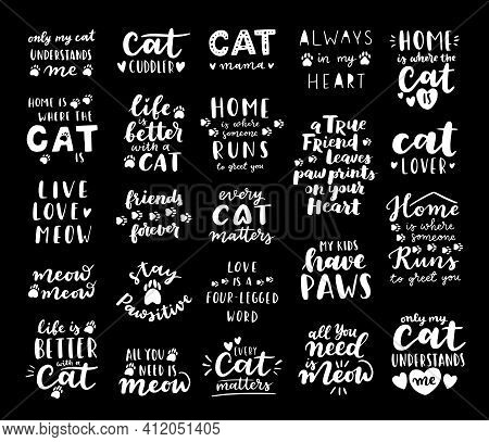 Cat Phrase Black And White Poster. Inspirational Quotes About Cat, And Domestical Pets. Hand Written