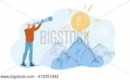 Vector Cartoon Flat Character Looking Into The Distance On Gold Coin Using Telescope - New Idea Sear