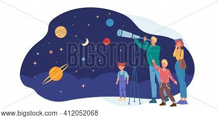 Cartoon Flat Happy Family Characters Having Fun Time.young People Mom Dad Kids Watching Planets, Sta