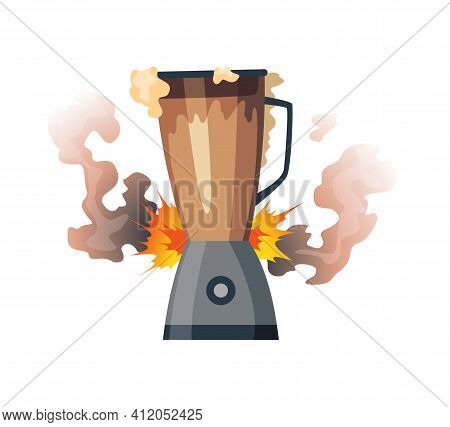 Broken Home Appliances. Damaged Mixer . Domestic Icon Isolated On White. Burning Electronics. Homeap